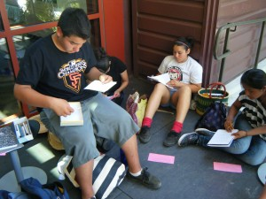 Journal writing at Pickleweed