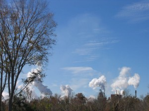 Paper mill smokestacks